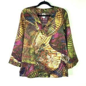 Natori top V-neck 3/4 Sleeve top blouse shirt